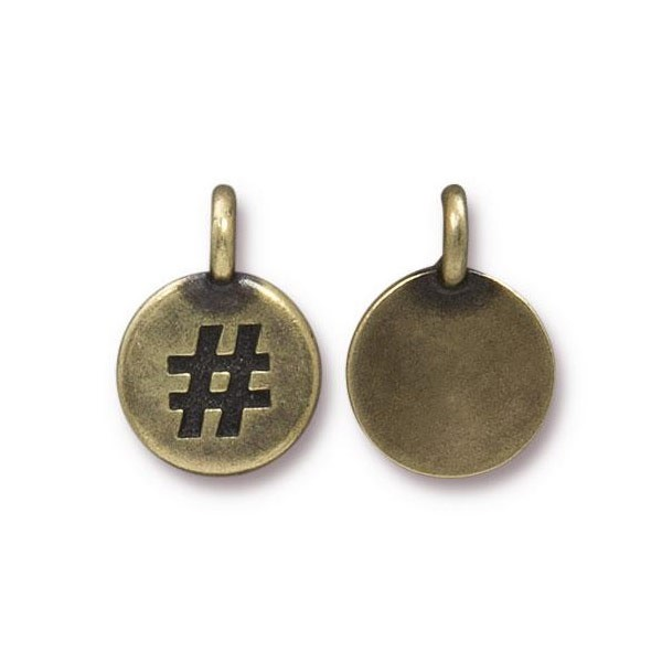 TierraCast Hashtag Charm with Loop 11.5mm Brass Oxide (1-Pc)