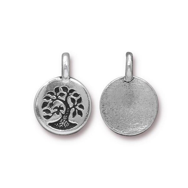 TierraCast Tree Charm 12x17mm Pewter Antique Silver Plated (1-Pc)