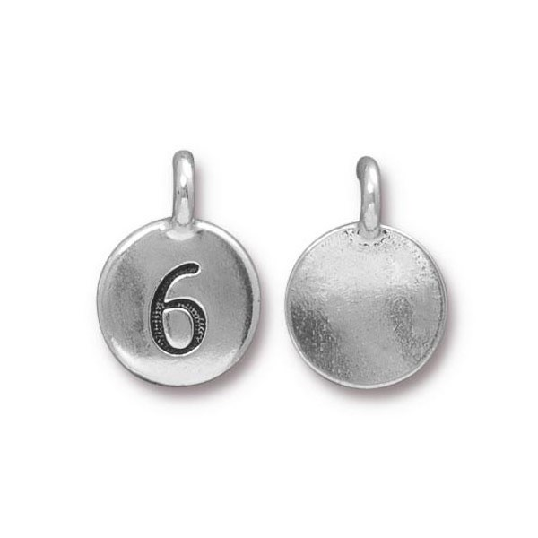 TierraCast Number 6 Charm with Loop 11.5mm Antique Pewter (1-Pc)