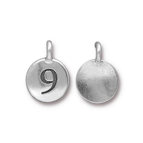 TierraCast Number 9 Charm 11.5mm Antique Pewter (1-Pc)