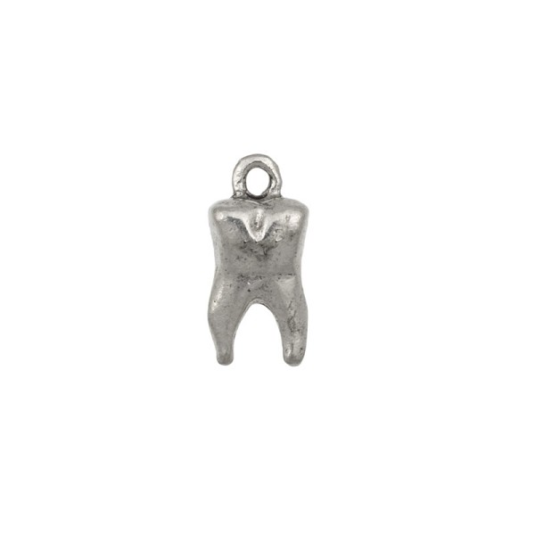 Tooth Charm 16mm Pewter Antique Silver Plated  (1-Pc)