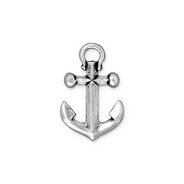 TierraCast Anchor Charm 20mm Pewter Antique Silver Plated (1-Pc)