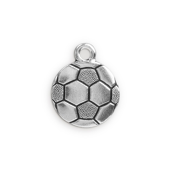TierraCast Soccer Ball Charm 19mm Pewter Antique Silver Plated (1-Pc)