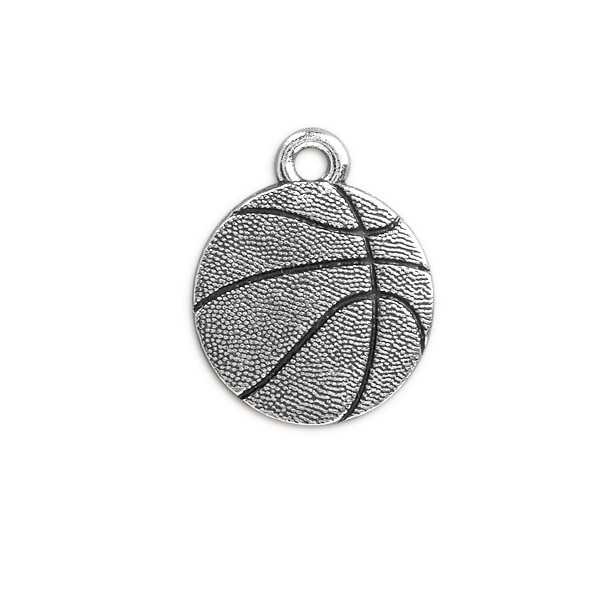 TierraCast Basketball Charm 19mm Pewter Antique Silver Plated (1-Pc)