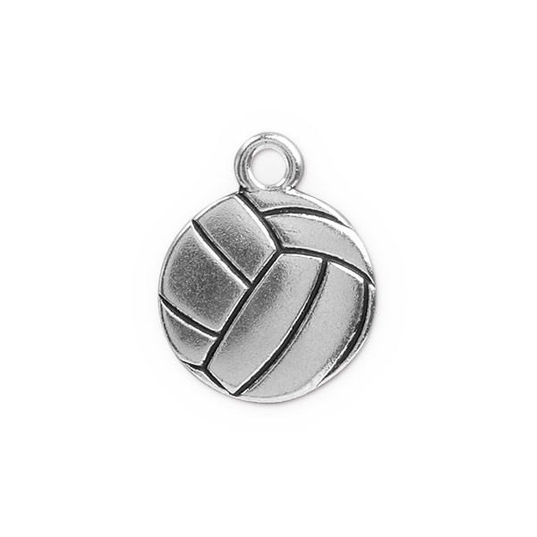 TierraCast Volleyball Charm 19mm Pewter Antique Silver Plated (1-Pc)