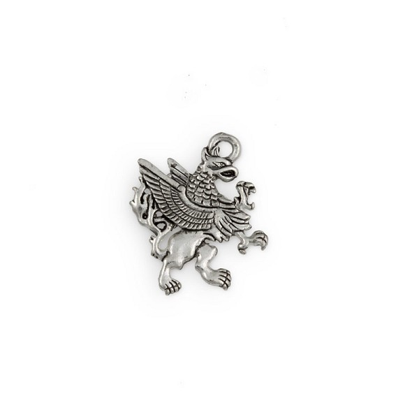 23mm Antique Silver Plated Griffin Pewter Charm (1-Pc)