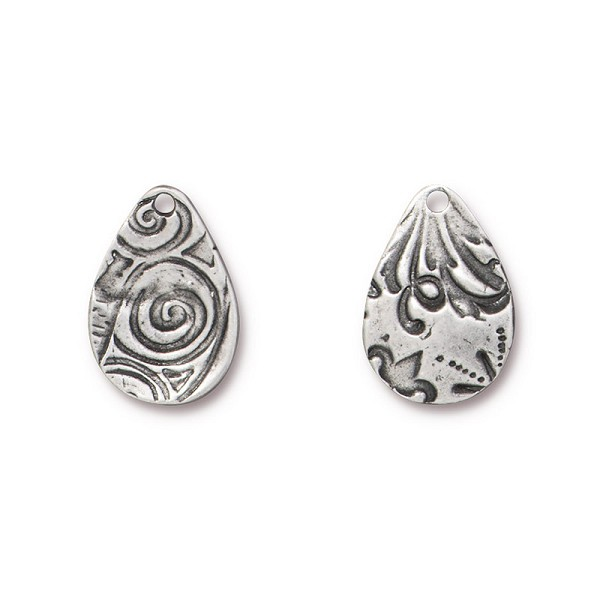 TierraCast Flora Teardrop Charm 19mm Pewter Antique (1-Pc)