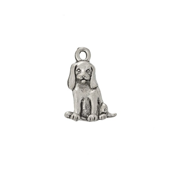 Sitting Beagle Charm 16x13mm Pewter Antique Silver Plated (1-Pc)
