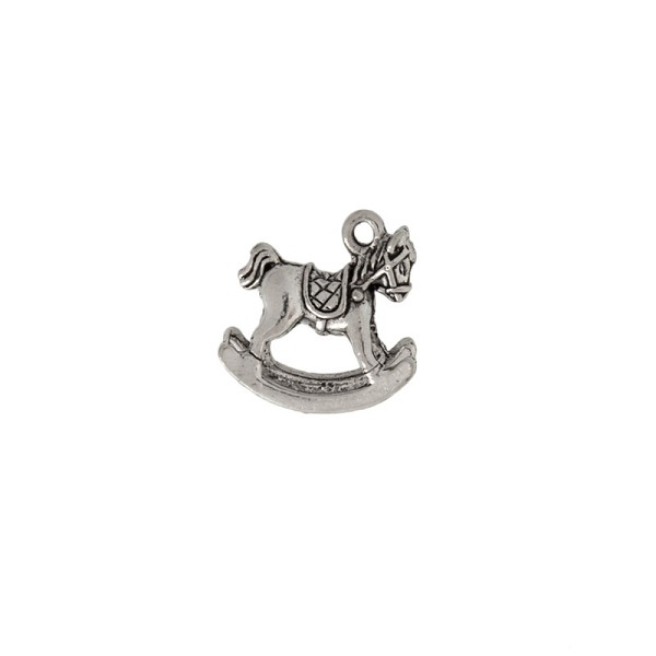 Rocking Horse Charm 15x16mm Pewter Antique Silver Plated (1-Pc)