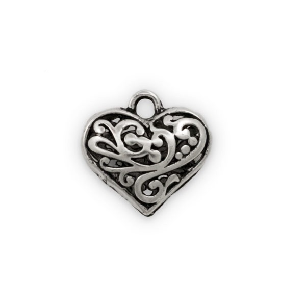 Puffy Heart Pewter Filigree Pendant 20mm (1-Pc)