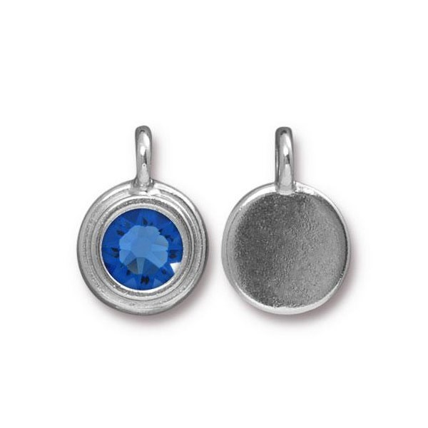 TierraCast 11mm Sapphire Rhodium Plated Pewter Bezel Drop (1-Pc)