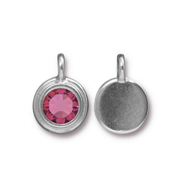 TierraCast 11mm Rose Rhodium Plated Pewter Bezel Drop (1-Pc)