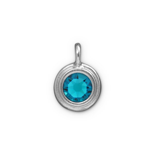 TierraCast 11mm Blue Zircon Rhodium Plated Pewter Bezel Drop (1-Pc)