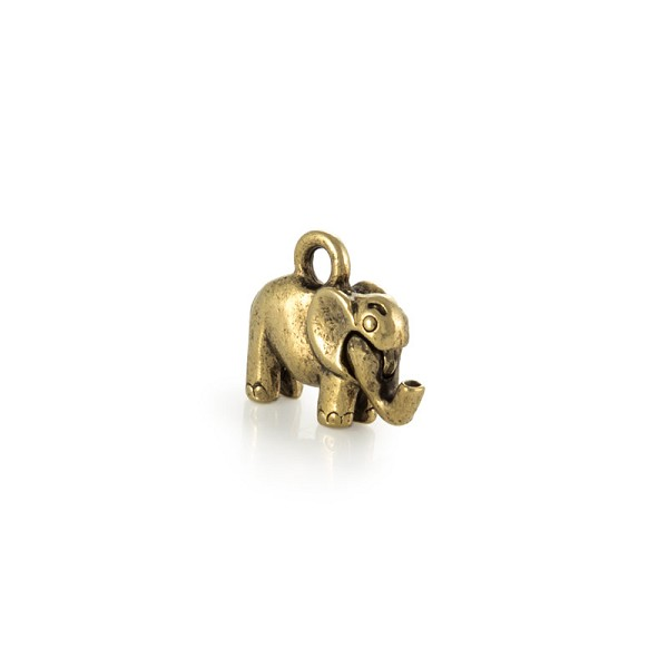 Elephant Charm 11x19mm Pewter Antique Gold Plated (1-Pc)