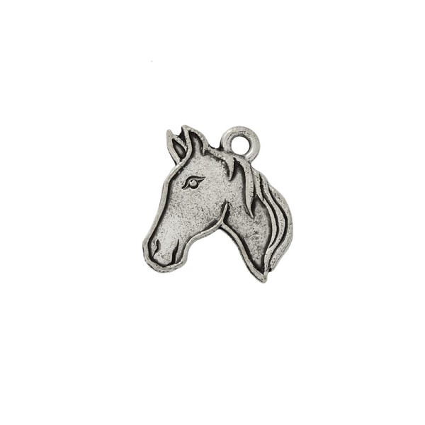 Horse Head Profile Charm 19x15mm Pewter Antique Silver Plated (1-Pc)