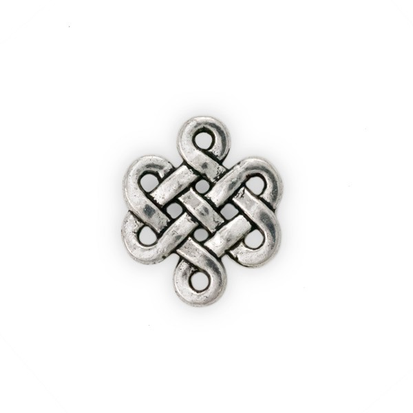Eternity Knot Connector Pewter Antique Silver Plated 17x15mm (1-Pc)