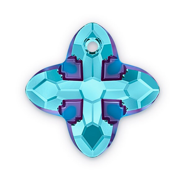 Swarovski Crystal 6868 Cross Tribe Pendant 14mm Aquamarine Metallic Blue (1-Pc)