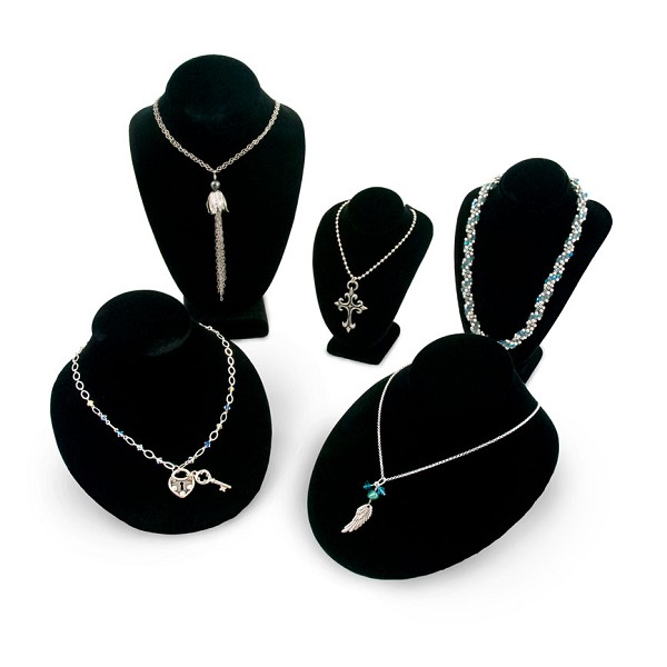 Black Necklace Busts Jewelry Display Kit (5-Piece)