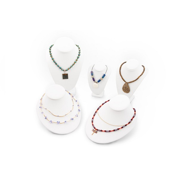 White Necklace Busts Jewelry Display Kit (5-Piece)