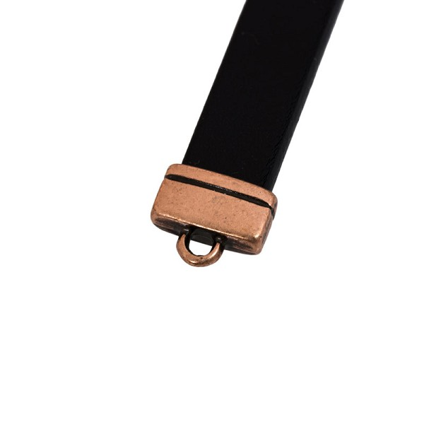 10mm Antique Copper Flat Rectangle Leather Strap End (1-Pc)