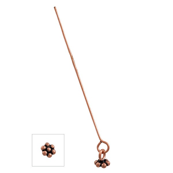 "Eye Pin with Flower Dangle 2"" 21ga Copper (2-Pcs)"