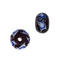 Rondell Lampwork Bead 9x14mm Black with Blue Waves (1-Pc)