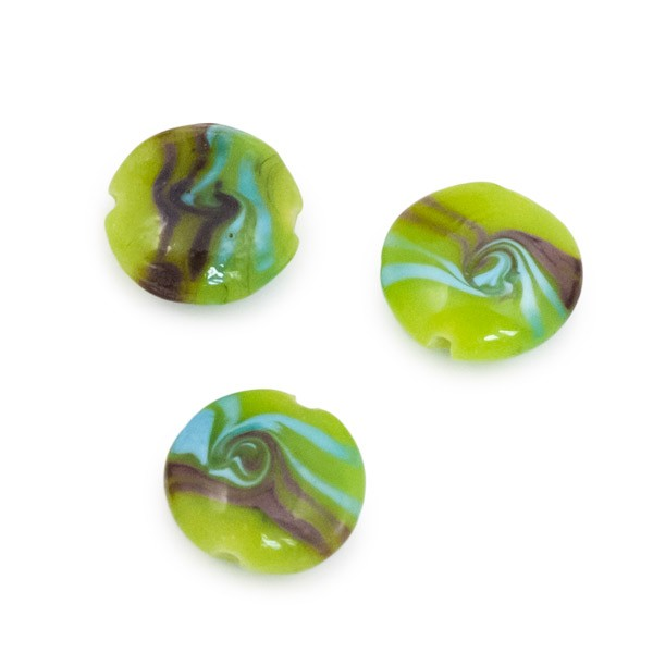 18mm Lime Green & Blue Wave Puffy Round Bead (1-Pc)
