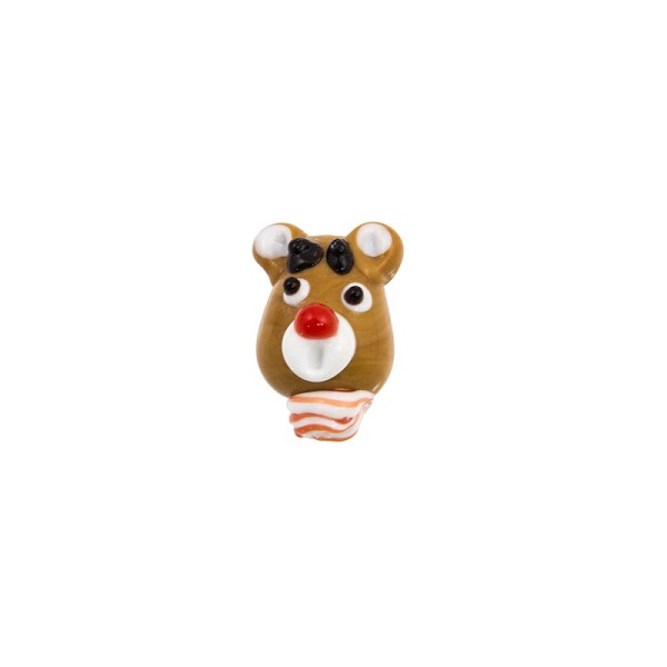 20mm Rudolph the Red Nose Reindeer Lampwork Glass Bead (1-Pc)