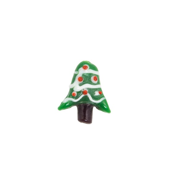 21x22mm Christmas Tree Lampwork Glass Bead (1-Pc)