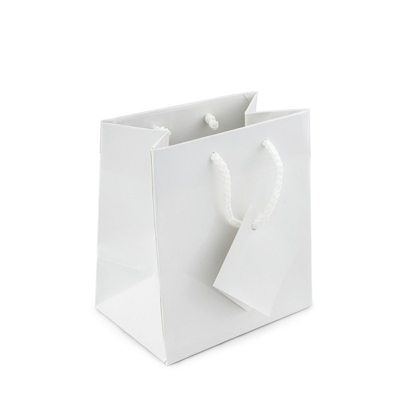 Glossy White 4x4 Tote Gift Bag (20-Pcs)