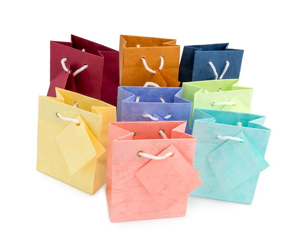Assorted Pastel 3x3 Tote Gift Bags (20-Pcs)