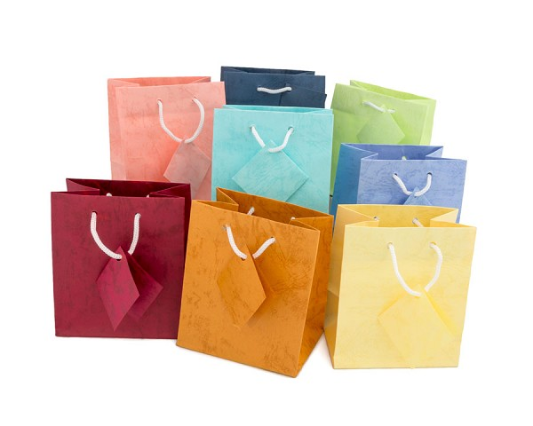 Assorted Pastel 4x4 Tote Gift Bags (20-Pcs)
