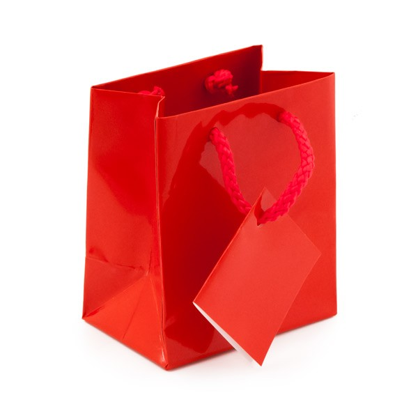 Glossy Red 3x3 Tote Gift Bag (20-Pcs)