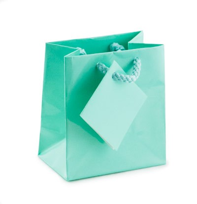 Glossy Teal Blue 3x3 Tote Gift Bag (20-Pcs)