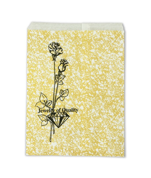 Jewelry Gift Bags Gold Print 6x9 (100-Pcs)