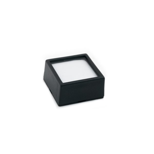 "Glass Top Black Gem Jar 1-1/2"" Square"