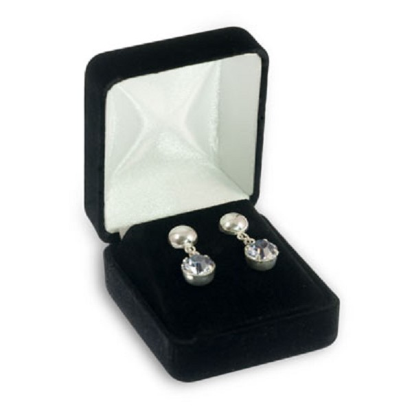 Velour Earring Box Stud Black