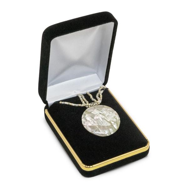 Small Pendant Or Earring Box Black Velvet With Gold Trim