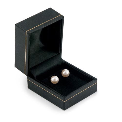 Cartier Style Stud Earring Box Black Leatherette