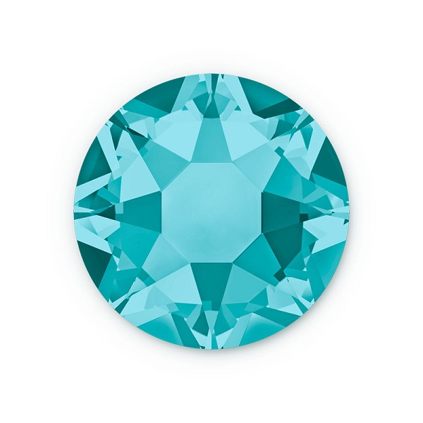 Swarovski 2028 4mm (SS16) Blue Zircon Hotfix Flat Back (10-Pcs)