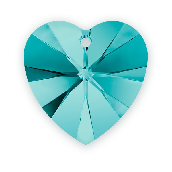 Swarovski Heart Crystal Pendant 6228 10mm Blue Zircon (1-Pc)
