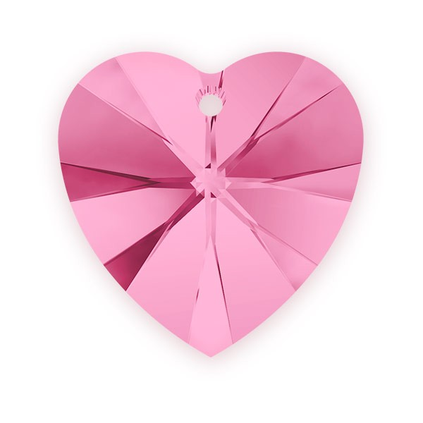 Swarovski Heart Crystal Pendant 6228 10mm Rose (1-Pc)