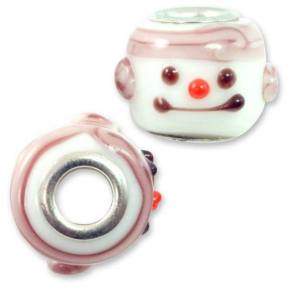Large Hole Lampwork Glass Bead with Grommet 12x14mm Snowman (1-Pc)