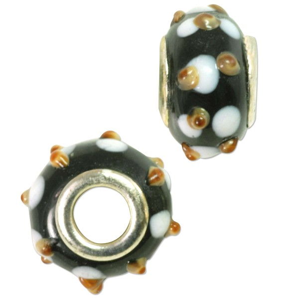 Large Hole Lampwork Glass Bead with Grommet 10x14mm Black with Tan and White Dots (1-Pc)