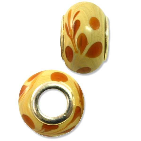 Large Hole Lampwork Glass Bead with Grommet 9x14mm Tan with Amber Swirls and Dots (1-Pc)