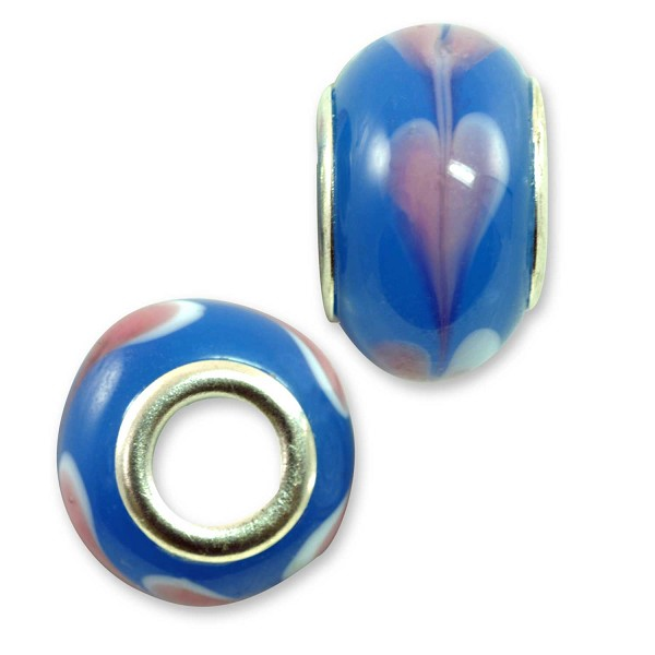 Large Hole Lampwork Glass Bead with Grommet 8x13mm Blue with Pink Hearts (1-Pc)