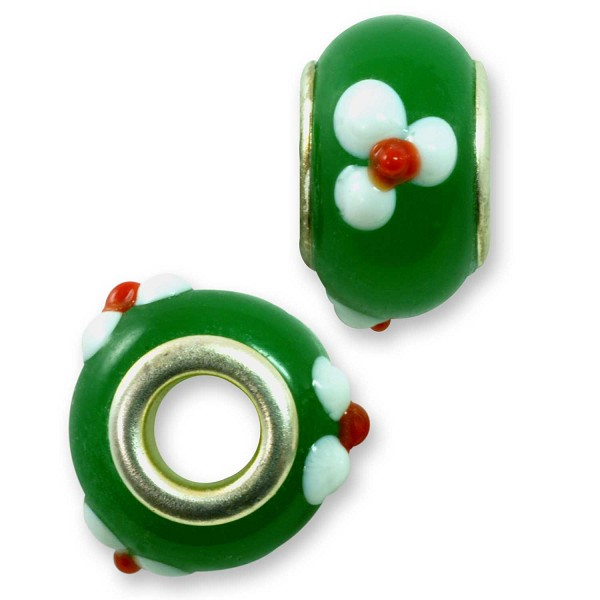 Large Hole Lampwork Glass Bead with Grommet 9x14mm Green with White Flowers and Red Dots (1-Pc)