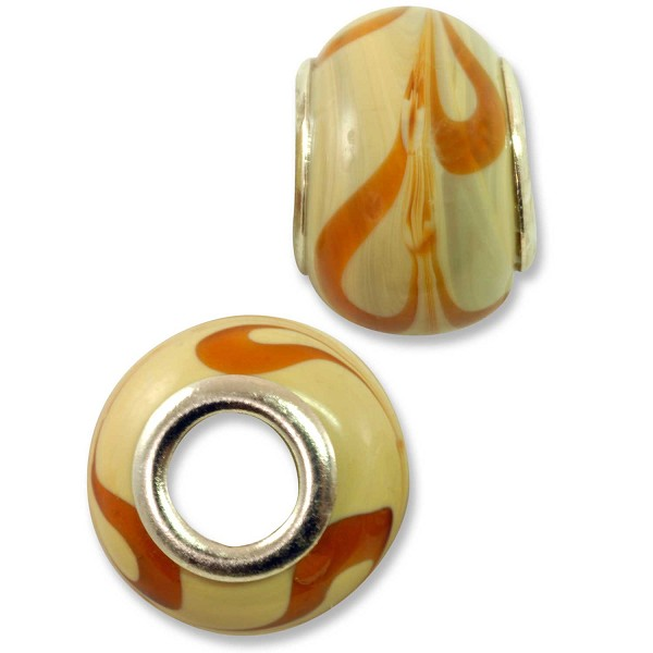Large Hole Lampwork Glass Bead with Grommet 9x13mm Tan with Amber Swirls (1-Pc)