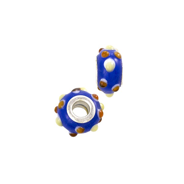Large Hole Lampwork Glass Bead with Grommet 8x14mm Cobalt Blue with Red/Tan Dots (1-Pc)