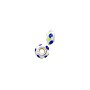 Large Hole Lampwork Glass Bead with Grommet 8x14mm White with Cobalt/Lime Swirls (1-Pc)